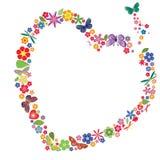 Feriehjärta med blommor och fjärilar Royaltyfri Fotografi