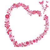 Feriehjärta med blommor och fjärilar Arkivbild