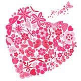 Feriehjärta med blommor och fjärilar Arkivfoto