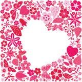 Feriehjärta med blommor och fjärilar Royaltyfri Foto