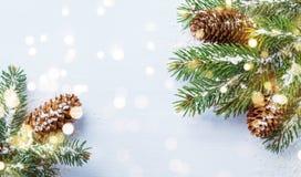 Feriekort eller baner för glad jul med snöig granfilialer och barrträdkottar Magiska bokehljus arkivfoto