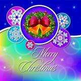 Feriekort för lyckligt nytt år på mångfärgad bakgrund med snöflingor och klockor royaltyfri illustrationer