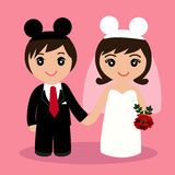 Feriekort med nygifta personerna Royaltyfria Bilder