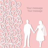 Feriekort med nygifta personerna Arkivbilder