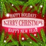 Feriekortet för glad jul som är rött med julgranen, fattar Arkivbild