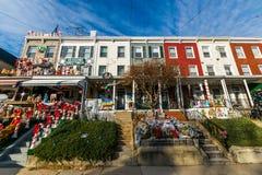 Ferieljus och garnering i Hampden, Baltimore Maryland arkivbild