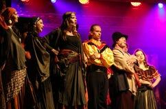 Feriemötet med operan i stuteri av den Hucul ponnyn Gladyszow i Regietow poland Royaltyfri Fotografi