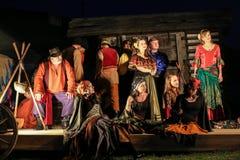 Feriemötet med operan i stuteri av den Hucul ponnyn Gladyszow i Regietow poland Royaltyfria Foton