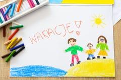 Ferienölpastellkinderzeichnen der glücklichen Familie auf dem Strand Lizenzfreie Stockfotografie