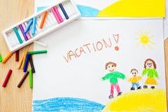 Ferien - Ölpastellzeichnung von der glücklichen Familie auf dem Strand Stockfoto