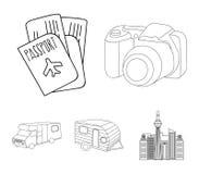 Ferien, Foto, Kamera, Pass Vector gesetzte Sammlungsikonen des Familienurlaubs in der Entwurfsart Illustration des Symbols auf La Stockfotos