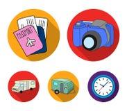 Ferien, Foto, Kamera, Pass Vector gesetzte Sammlungsikonen des Familienurlaubs in der flachen Art Illustration des Symbols auf La Lizenzfreie Stockfotografie