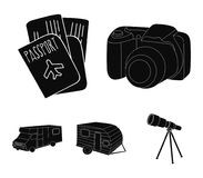 Ferien, Foto, Kamera, Pass Vector gesetzte Sammlungsikonen des Familienurlaubs in der schwarzen Art Illustration des Symbols auf  Stockfotos