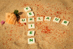 Ferien Urlaub, German word Letters Stock Image