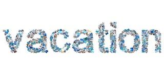 Ferien - Wort von verschiedenen Fotos von den Ozeanen und von den Stränden. Lizenzfreie Stockfotos