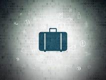 Ferienkonzept: Tasche auf Digital-Daten-Papierhintergrund stock abbildung