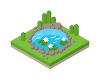 Feriennetz infographics Konzept des flachen isometrischen Teichs 3d im Freien Lizenzfreie Stockfotos