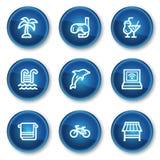Ferienweb-Ikonen, blaue Kreistasten Stockfoto
