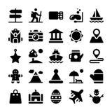 Ferier och fast symbolsuppsättning för semestrar royaltyfri illustrationer