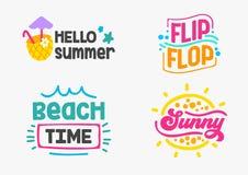 Ferier planlägger emblem med klotterbeståndsdelar och typografiuppsättningen Semester parti, lopp, tropiska Paradise, affärsföret royaltyfri illustrationer