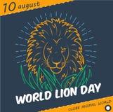 FerievärldsLion Day linjär stil royaltyfri illustrationer