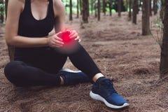 Ferimento da mulher do esporte no joelho durante movimentar-se no fundo das madeiras de pinho da floresta Conceito m?dico e dos c imagens de stock royalty free
