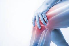 Ferita al ginocchio in esseri umani dolore del ginocchio, la gente medica, mono punto culminante di dolori articolari di tono al  immagini stock