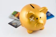 Ferita del porcellino salvadanaio dal concetto di debito Immagini Stock