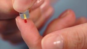 Ferita del sangue della carne dal dito e dalla striscia test pazienti del diabete archivi video
