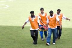 Ferita di azione di gioco del calcio Fotografia Stock