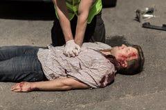 Ferito di incidente stradale Fotografie Stock Libere da Diritti