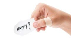Ferito e felice? Fotografia Stock Libera da Diritti