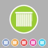 Feritoie della finestra, pieghettato, gelosia, ciechi, rotoli, verticale, orizzontale, simboli, icone Immagine Stock