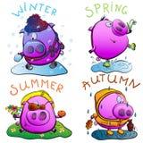 Ferkel und Jahreszeiten. Stockbild