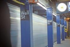 Fermata del sottopassaggio per Wall Street, New York, NY Immagine Stock Libera da Diritti