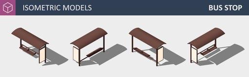Fermata dell'autobus della città - concetto piano isometrico 3D di vettore illustrazione di stock