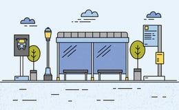 Fermata dell'autobus, iluminazione pubblica, orario di trasporto pubblico ed informazioni per i passeggeri illustrazione vettoriale
