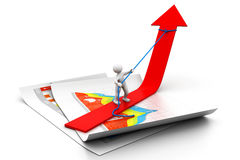 Fermata dell'uomo il grafico di crescita Immagini Stock