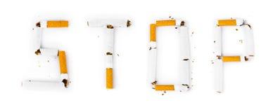Fermata di parola fatta delle sigarette rotte Fotografia Stock Libera da Diritti