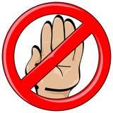 Fermata di stile del fumetto della mano vietata illustrazione vettoriale