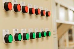 Fermata rossa e pulsanti di avvio verdi Fotografia Stock