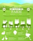 Ferme américaine Infographic avec le paysage lumineux, silhouettes d'animaux de ferme Photos stock