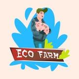 Ferme animale de Hold Pig Butcher Eco d'agriculteur Photographie stock libre de droits