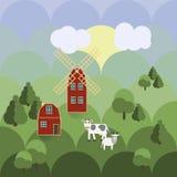 Ferme avec le vecteur d'illustration d'agriculture d'animaux Photo libre de droits