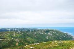 Ferme d'énergie éolienne sur le cap Vilan, Galicie, Espagne Photo libre de droits