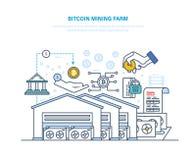 Ferme d'exploitation de Bitcoin Centre informatique d'ordinateur, exécution, traitant des transactions illustration de vecteur