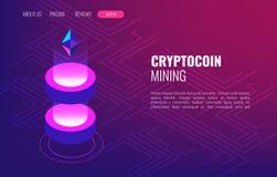 Ferme d'exploitation de Cryptocoin Cryptocurrency et concept isométrique de blockchain Transmission et traitement de données illustration stock