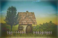 Ferme de beauté avec peu de maison et vélo Photo libre de droits