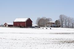 Ferme de Midwest en hiver Photographie stock