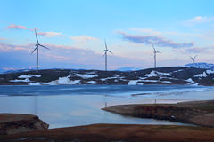 Ferme de turbines de vent norway Photo stock